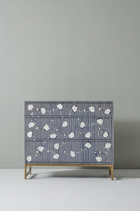 Bone Inlay Chest Of 3 Drawers Navy