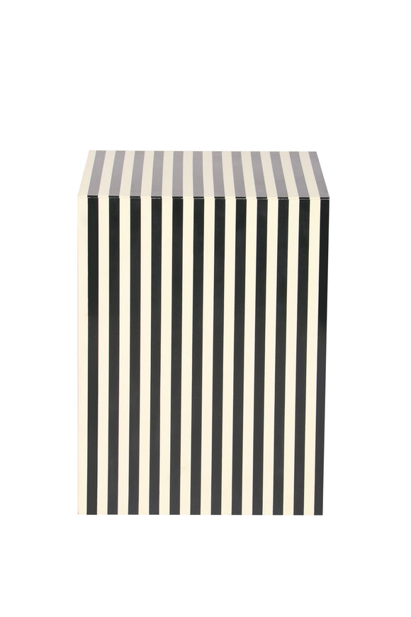 Resin Inlay Striped Monochrome Handcrafted Side Table