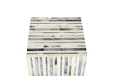 Resin Inlay Grey & Ivory Colored Vertical Striped Handcrafted Side Table