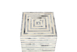 Resin Inlay Grey & Ivory Colored Horizontal Striped Handcrafted Side Table