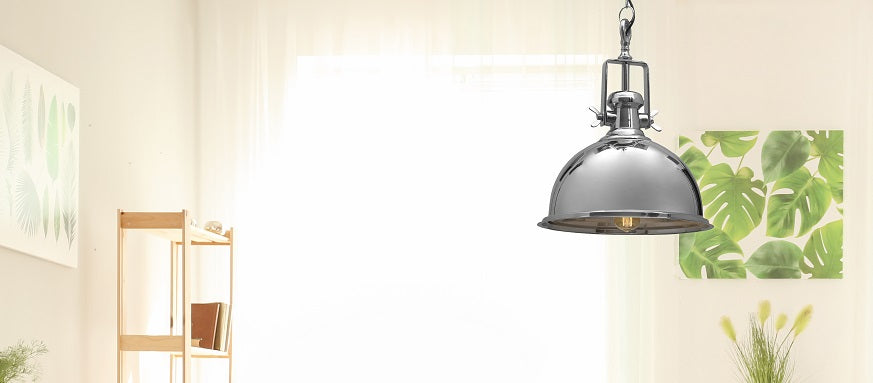 CASTLE CHROME PENDANT LIGHT INDUSTRIAL COMMERCIAL FOR KITCHEN CAFE RESTAURANT