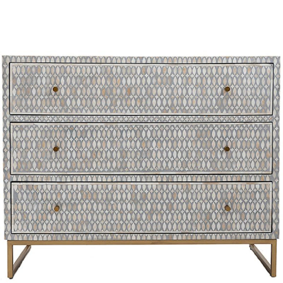 Bone Inlay Chest Of 3 Drawers Grey