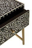 Bone Inlay Bedside Table Floral Black & White