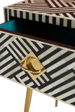 Bone Inlay Chevron Pattern Black & White Console Table / Desk