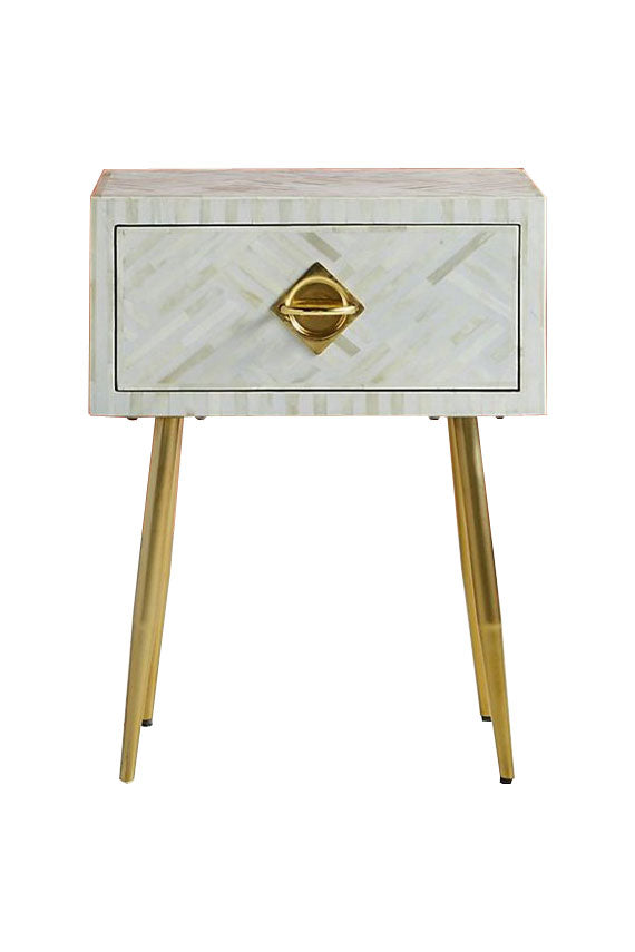 Bone Inlay Bedside Table Geometric Pattern