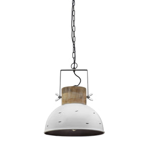 Wood and metal pendant light