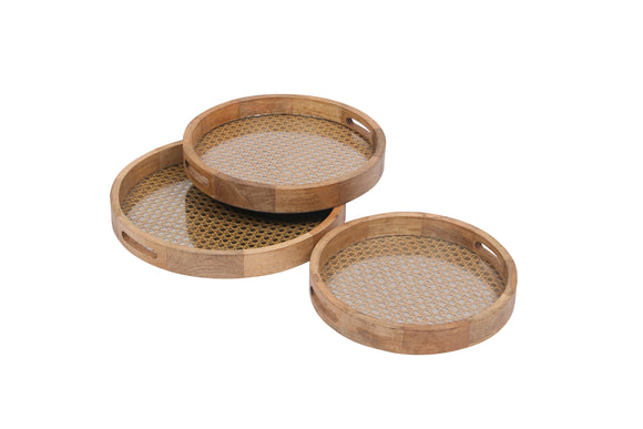 Set Of 3 Handcrafted Round Trays Wood, Cane & Glass