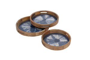 Set Of 3 Handcrafted Round Trays Wood, crochia & Glass