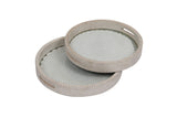 Set Of 3 Handcrafted Round Trays White Wood, crochia & Glass