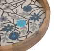 Set Of 3 Handcrafted Round Trays Wood, embroidery & Glass