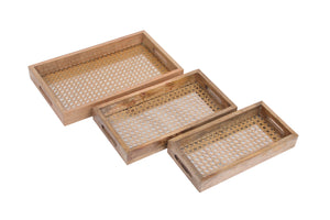 Set Of 3 Handcrafted Rectangular Trays Wood, Cane & Glass