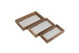 Set Of 3 Handcrafted Rectangular Trays Wood, crochia & Glass
