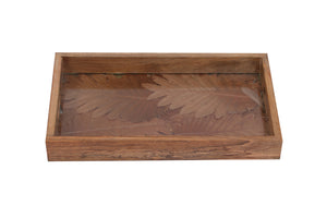 Set Of 3 Handcrafted Rectangular Trays Wood, Leaves & Glass