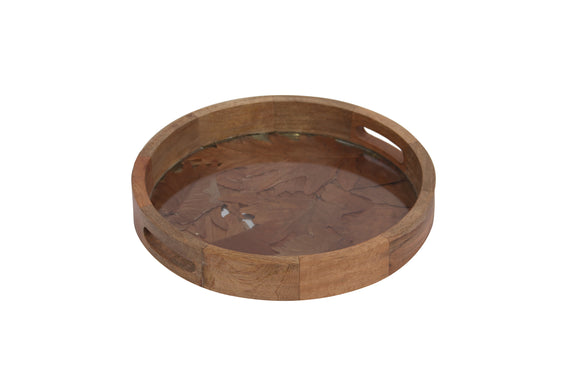 Set Of 3 Handcrafted Round Trays Wood, Leaves & Glass