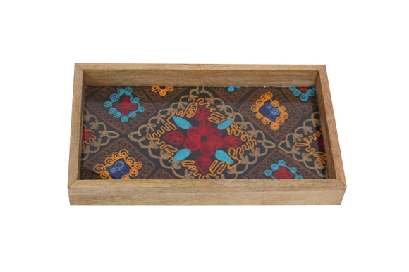 Set Of 3 Handcrafted Rectangular Trays Wood, Embroidery & Glass