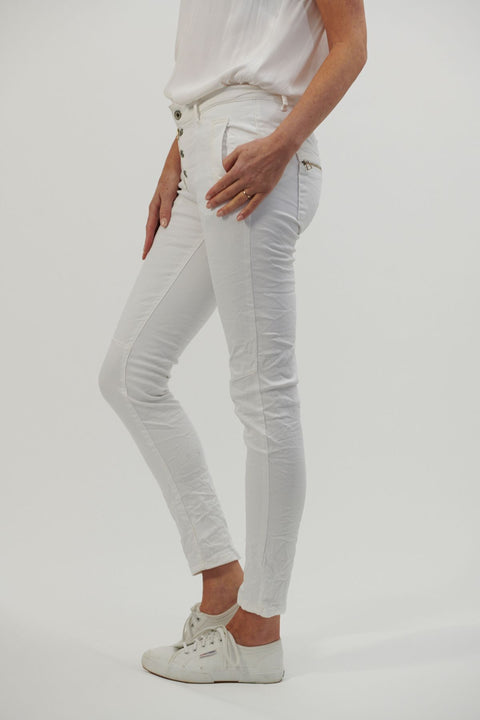 Button Jeans White