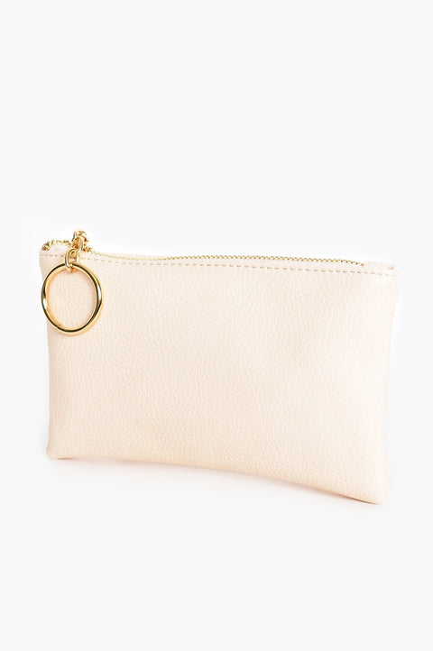 Ring Faux Leather Clutch Cream