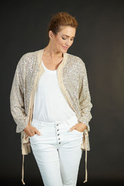 Drawstring Sequin Jacket Latte