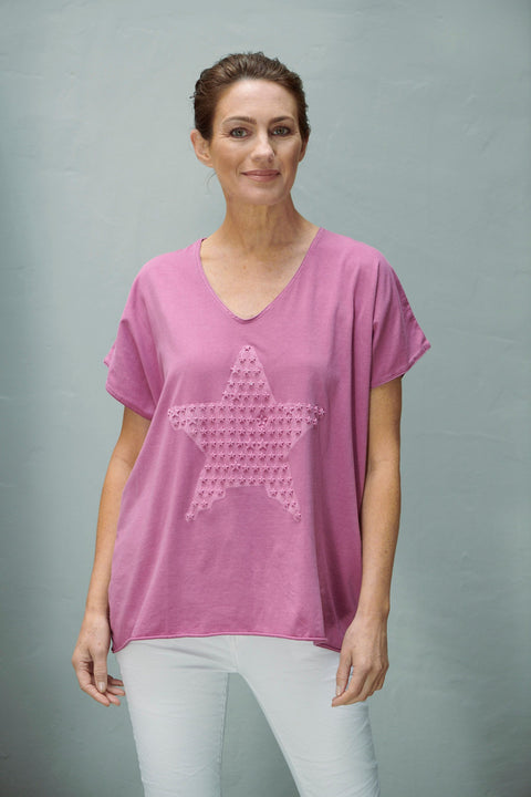 Embossed Star Tee Berry
