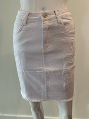 Scratch Denim Skirt White