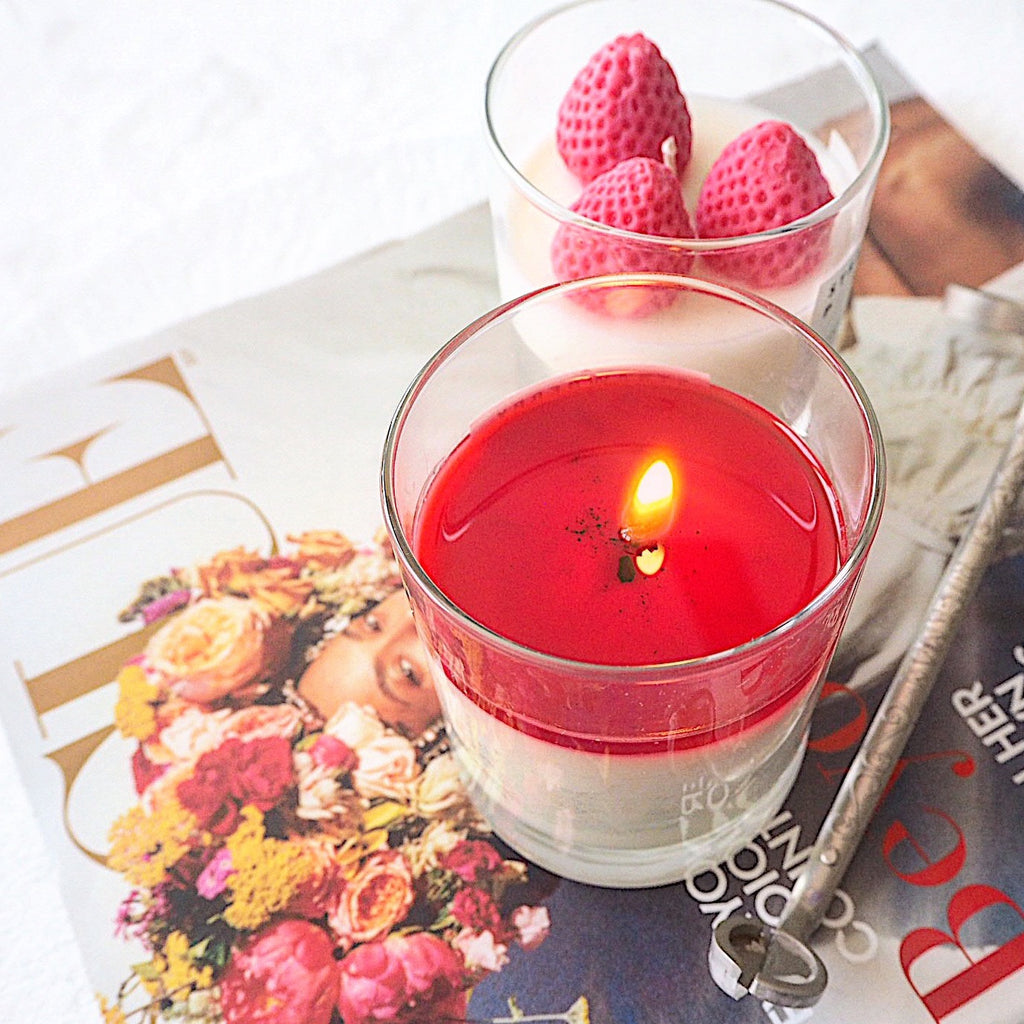 Strawberry pink Candle - LH CANDLE STUDIO