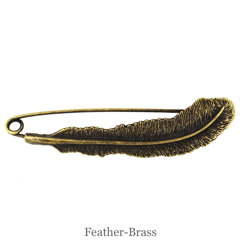 SHAWL PIN - Feather - Brass - Beautiful Knitters