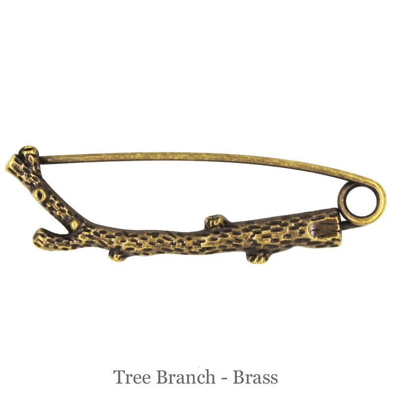 SHAWL PIN - Tree Branch - Brass - Beautiful Knitters