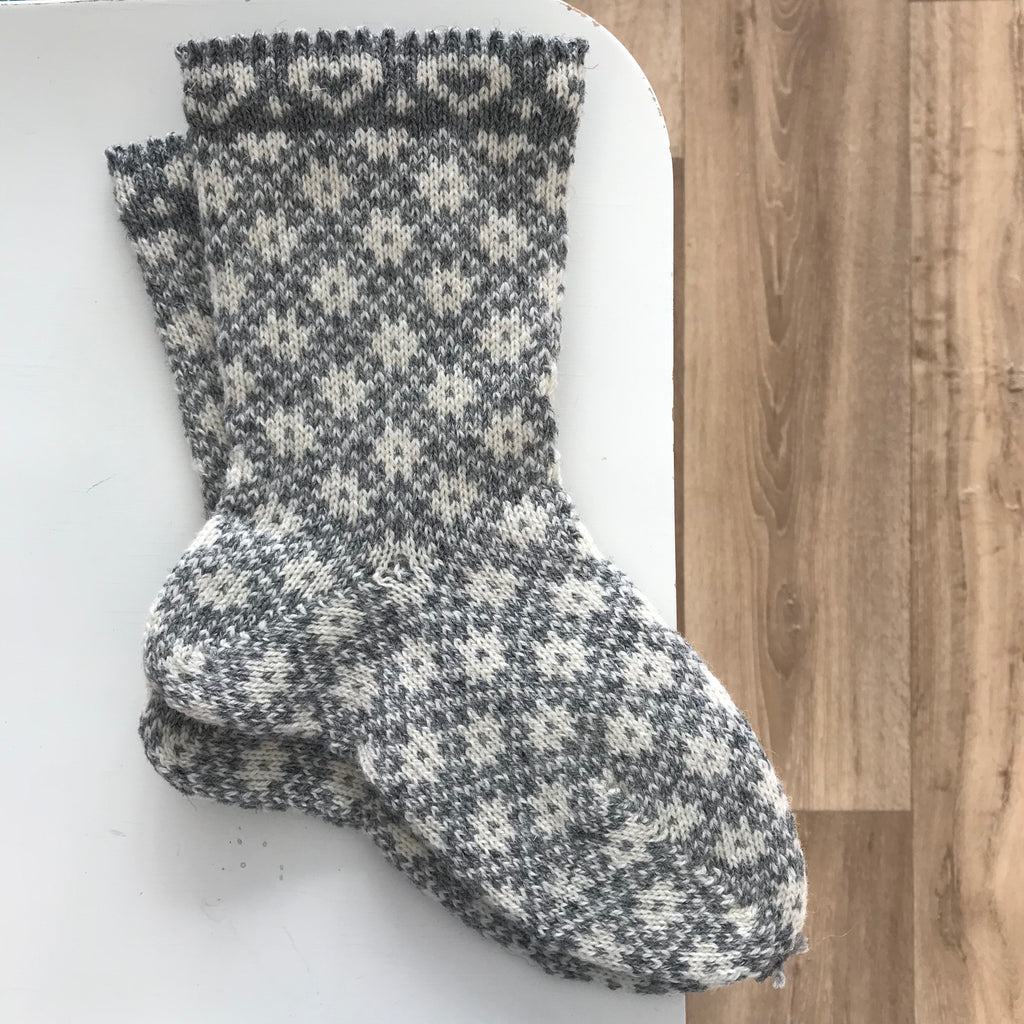 Longa Liisu KNITTED SOCKS - Traditional Grey Hearts / S - Beautiful Knitters