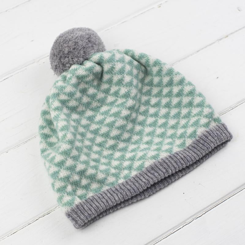 Miss Knit Nat TRIANGLE POM POM HAT - Mint/Grey/Cream - Beautiful Knitters