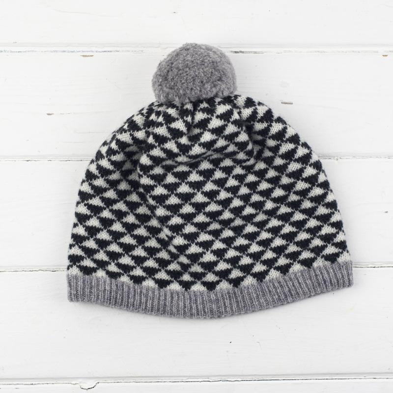 Miss Knit Nat TRIANGLE POM POM HAT - Monochrome - Beautiful Knitters