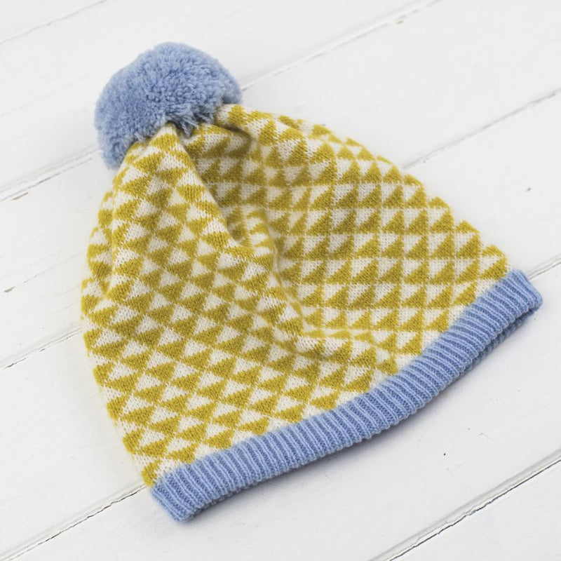 Miss Knit Nat TRIANGLE POM POM HAT - Piccalilli/Blue/Cream - Beautiful Knitters