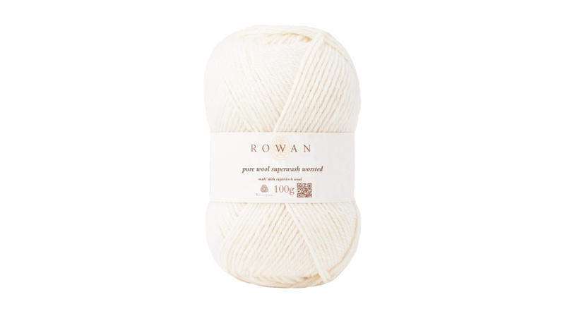 Rowan PURE WOOL SUPER-WASH WORSTED - 102 Soft Cream - Beautiful Knitters