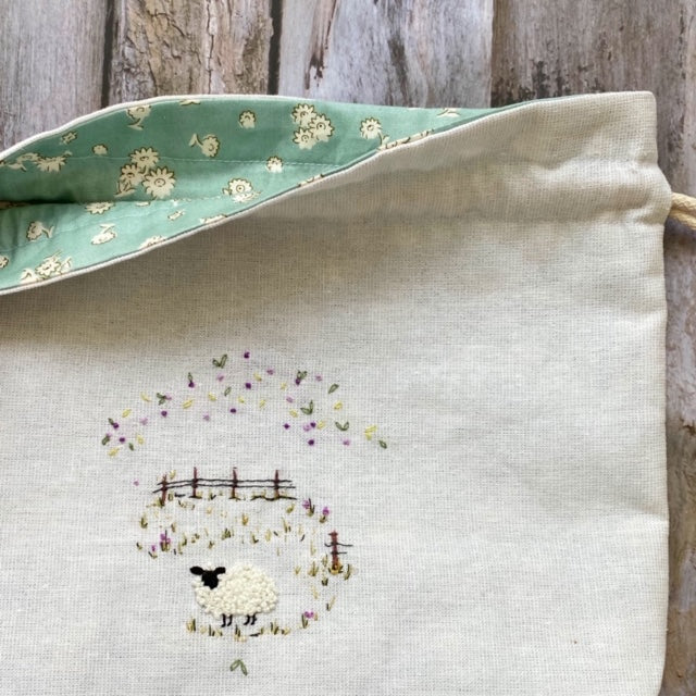 Hand Embroidered Project Bag - Lara Lamb - Beautiful Knitters