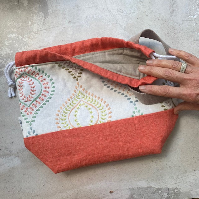 Saffron Blue PROJECT BAG - Coral Embroidered - Beautiful Knitters
