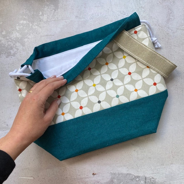 Saffron Blue PROJECT BAG - Floral Dot - Beautiful Knitters