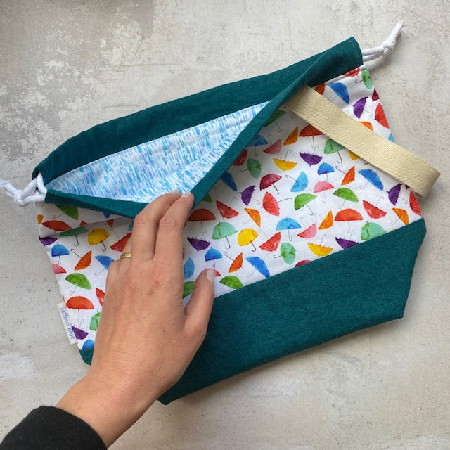 Saffron Blue PROJECT BAG - Umbrella Rainbow 2 - Beautiful Knitters