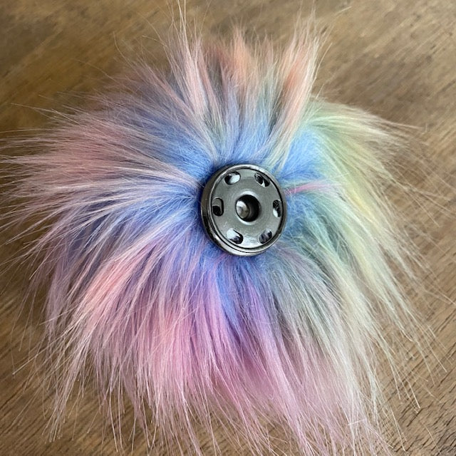 The Crafty Bird POM POM - Medium / Blue Rainbow / Press Stud - Beautiful Knitters