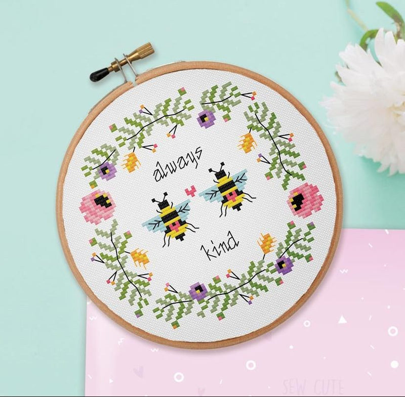 The Geeky Stitching Co CROSS STITCH KIT - Always Bee Kind - Beautiful Knitters