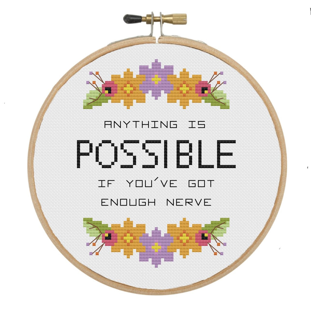 The Geeky Stitching Co CROSS STITCH KIT - Anything is Possible - Beautiful Knitters