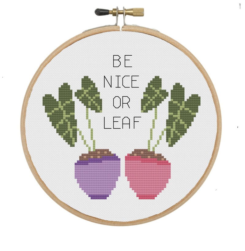 The Geeky Stitching Co CROSS STITCH KIT - Be Nice or Leaf - Beautiful Knitters