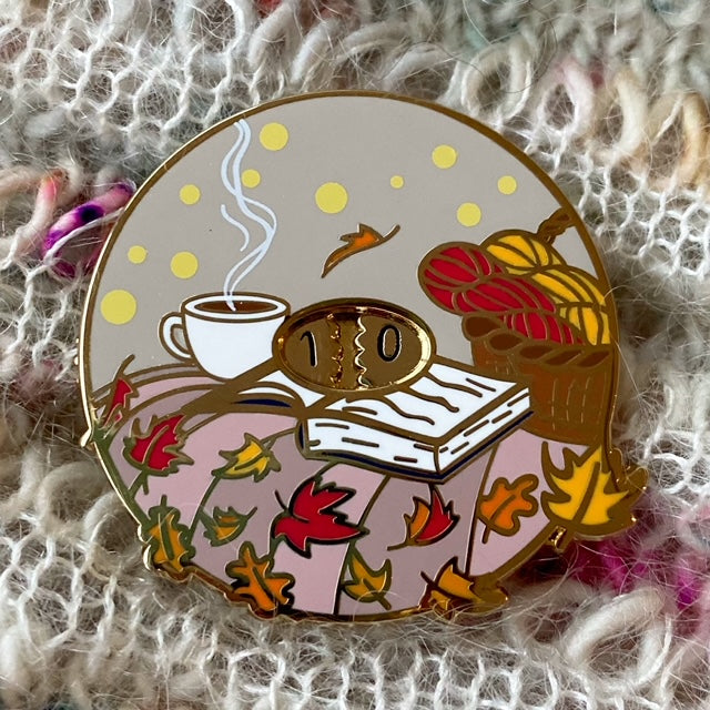 Twill & Print ROW COUNTER ENAMEL PIN - Autumn - Beautiful Knitters