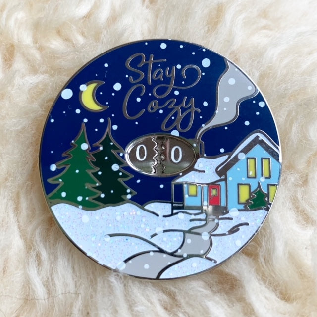Twill & Print ROW COUNTER ENAMEL PIN - Winter - Beautiful Knitters