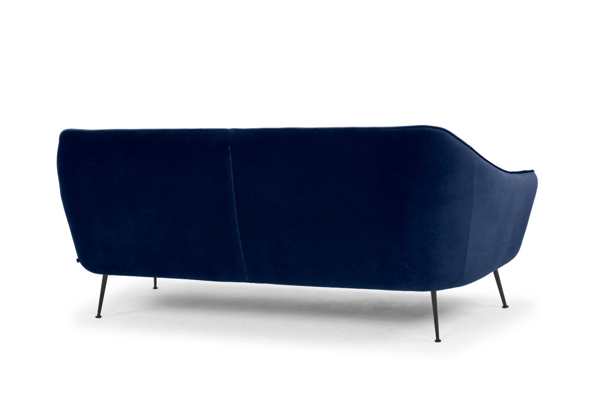 Babe Ruth - three seater sofa in electric navy with matt black legs