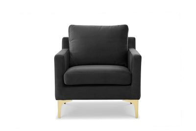 Dark grey velvet chair with gold legs by Calvers + Suvdal