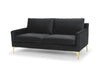 Modern mid century three seater sofa - dark grey velvet with gold legs