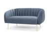 Glam Two seater sofa - dusky blue with gold legs  by Calvers & Suvdal