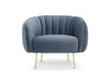 Glamorös armchair - scalloped back, dusky blue velvet, gold legs