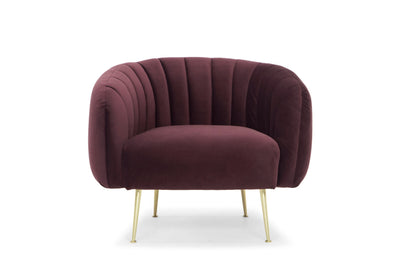 Glamorös armchair - scalloped back, claret velvet, gold legs