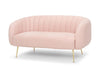 Glam Two seater sofa - dusky pink with gold legs  by Calvers & Suvdal