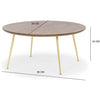 90cm large Coffee table - dark oak finish with gold legs